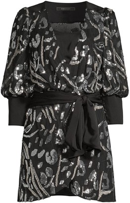 BCBGMAXAZRIA Abstract Sequin Blouson Mini Wrap Dress