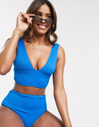 We Are We Wear mix and match reversible ribbed long line plunge bikini top in cobalt blue