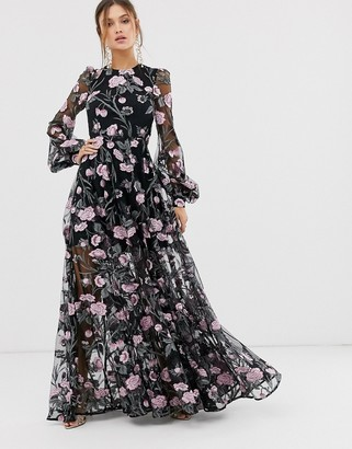 Asos EDITION embroidered pink floral maxi dress with open back
