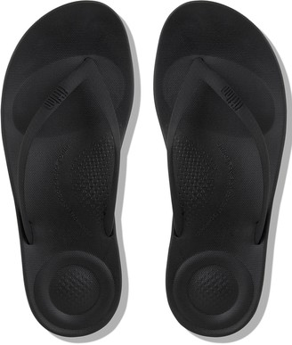 FitFlop Iqushion Ergonomic Toe Thong Flip Flop Shoes - Black