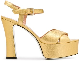 Pollini 125mm Metallic Platform Sandals