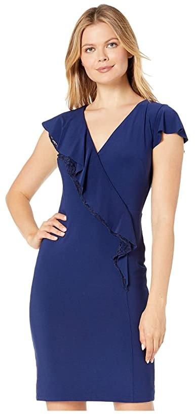 Lauren Ralph Lauren Mid Weight Matte Jersey Leanne Short Sleeve Day Dress (Dutch Blue) Women's Clothing