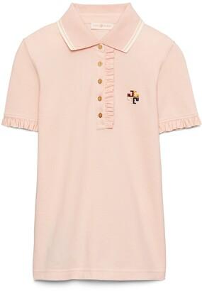 Tory Burch Ruffle Cotton Pique Polo Shirt