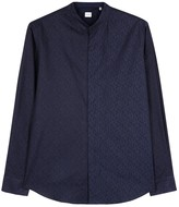 Armani Collezioni Navy Diamond-jacquard Cotton Shirt