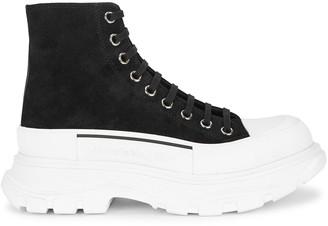 Alexander McQueen Tread Slick Black Suede Hi-top Sneakers
