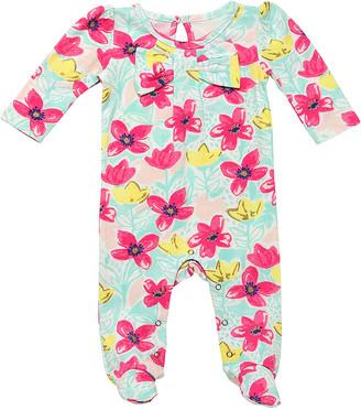 Baby Starters Girls' Footies Pink - Pink & Green Floral Leaf Footie - Newborn & Infant