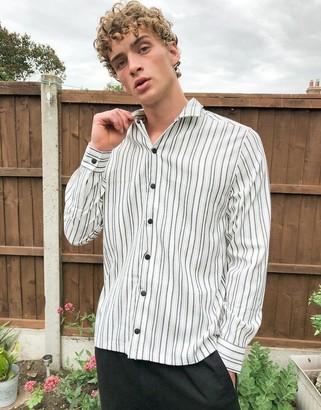 ASOS DESIGN smart overshirt in back and white stripe