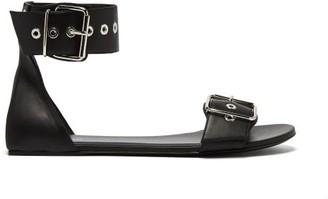Balenciaga Belt Buckle Leather Sandals - Womens - Black