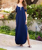 Sweet Pea Navy Colder Shoulder Cutout Maxi Dress
