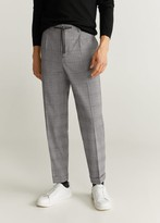 MANGO MAN - Tapered fit pleated pants dark heather grey - 28 - Men