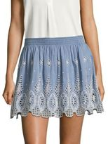 Joie Wanita Embroidered Eyelet Mini Skirt