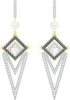 Swarovski Golden Pierced Earrings, Blue