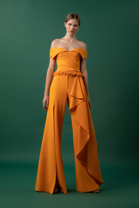 Gemy Maalouf Draped Crepe Top and Flared Crepe Pants