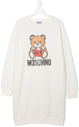 MOSCHINO BAMBINO TEEN logo print sweatshirt dress