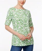 Karen Scott Elbow-Sleeve Printed Boatneck Top, Only at Macy's