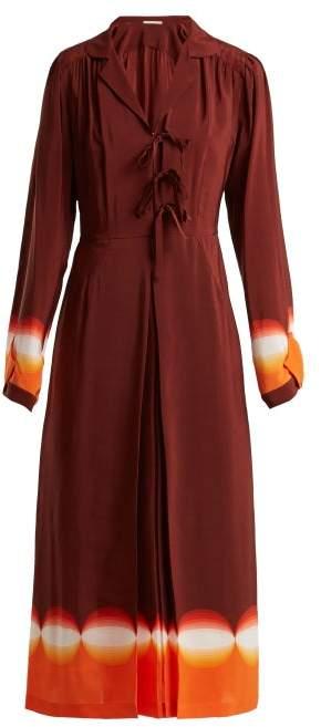Marco De Vincenzo Contrast Panel Silk Crepe De Chine Dress - Womens - Orange Print