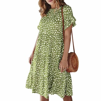 Crabitin Women Dresses Summer 2020 Sexy Crew Neck Floral Print Boho Beach Dress Short Sleeve Mini Dress with Polka Dot Dress Pattern Dresses Bohemian Ruffle Dress Green