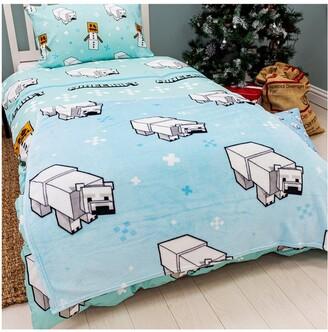 Minecraft Polar Bear Christmas Fleece Blanket