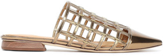 Sigerson Morrison Eddi Embellished Caged Mirrored-leather Mules