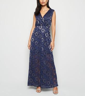 New Look Mela Metallic Lace Wrap Maxi Dress