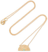 Andrea Fohrman Rainbow 14-karat Gold, Diamond And Turquoise Necklace - one size