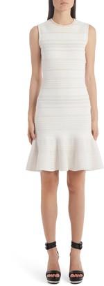 Alexander McQueen Flutter Hem Jacquard Sweater Dress