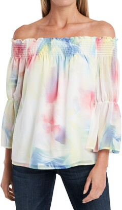 Vince Camuto Off-the-Shoulder Smocked Watercolor Print Blouse