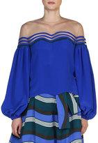 Fendi Illusion Wavy-Cutout Peasant-Sleeve Blouse, Cobalt