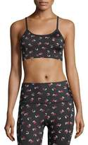 Beyond Yoga x kate spade new york luxe floral cinched bow bra, black