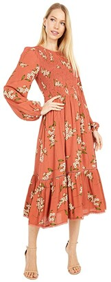 Lost + Wander Champagne At The Palace Midi Dress (Amber Multi) Women's Clothing