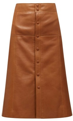Saint Laurent A-line Leather Skirt - Brown