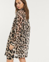 Thumbnail for your product : Monki Hester leopard print organza shirt in multi