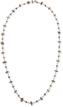 "Stephen Dweck Pearl & Labradorite Beaded Station Necklace, 44"""