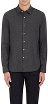 Barneys New York MEN'S GINGHAM BRUSHED COTTON FLANNEL SHIRT-GREY SIZE M
