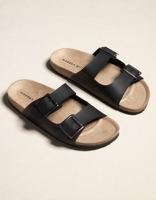 Madden-Girl Double Buckle Womens Black Slide Sandals