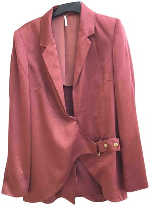 Free People Burgundy Polyester Jackets