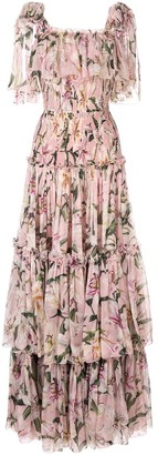 Dolce & Gabbana Lily-Print Tiered Maxi Dress