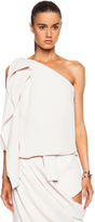 CHRISTOPHER ESBER One Sided Structured Pique Drape Shell Blouse