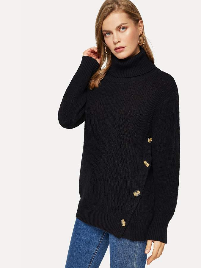 Shein Turtle Neck Button Detail Jumper