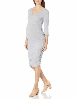 Ingrid & Isabel Women's Maternity 3/4 Sleeve Side Shirred Dress