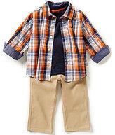 Nautica Baby Boys 12-24 Months Plaid Long-Sleeve Shirt, Short-Sleeve Tee & Pant Set