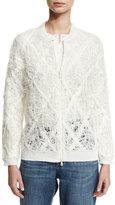 Brunello Cucinelli Linen-Silk Argyle Bomber Jacket, White