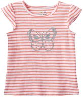 Toddler Girl Jumping Beans® Striped Flutter Sleeve Glitter Graphic Tee