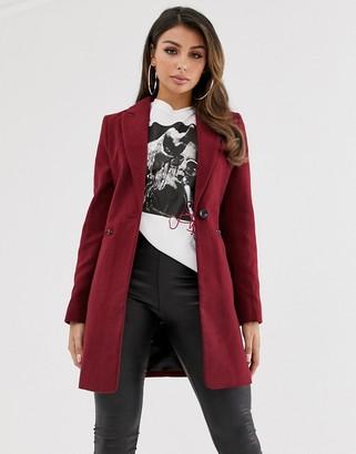 Asos Design DESIGN boyfriend coat with zip pockets-Red