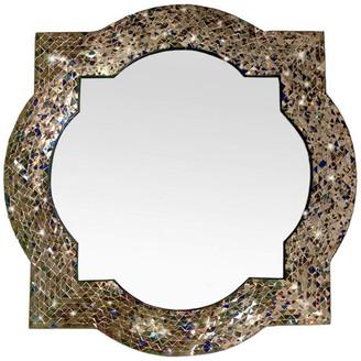 DecorShore Andalusian Quatrefoil Mirror, Lindaraja Designer Mosaic Glass Framed W
