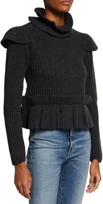 Ganni Ribbed Open-Back Turtleneck Sweater w/ Ruffles