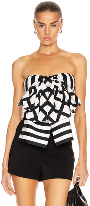 Caroline Constas Vera Top in White & Black | FWRD