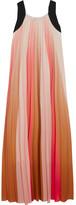 Maje Pleated Ombré Crepe De Chine Maxi Dress - Coral