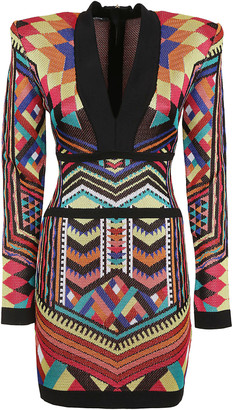 Balmain Geometric Print Dress