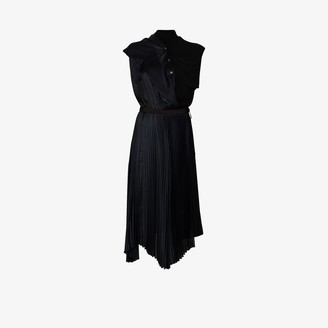 Sacai Asymmetric draped pleated dress